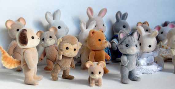 1980s SYLVANIAN FAMILIES Vintage Fuzzy Animals Sylvanian Families 1985 Lot by SackLunchTime, $25.00