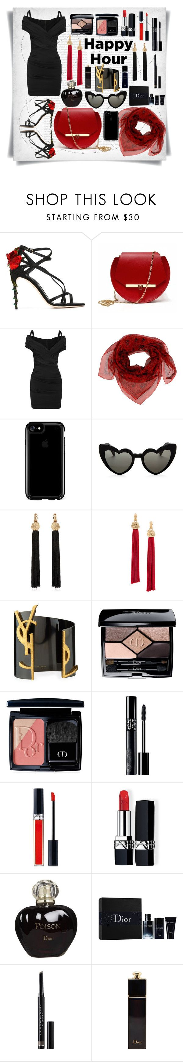 """Happy Hour:Dolce & Gabanna black dress"" by imbeauty ❤ liked on Polyvore featuring Oris, Dolce&Gabbana, Angela Valentine Handbags, Alexander McQueen, Speck, Yves Saint Laurent, Christian Dior and happy"