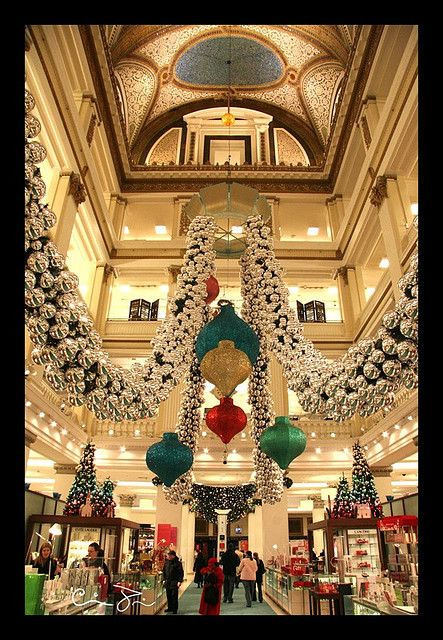 Inside The Old Marshall Fields  in downtown Chicago.  A must stop destination every Christmas shopping season.  The decorations were amazing.