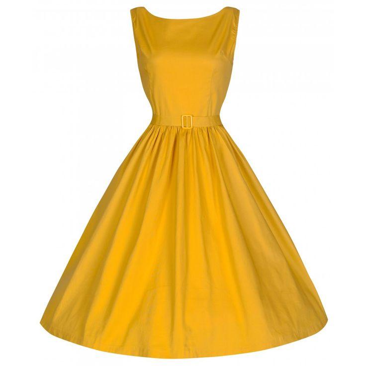 'Audrey' Vintage Style Blazing Yellow Swing Dress