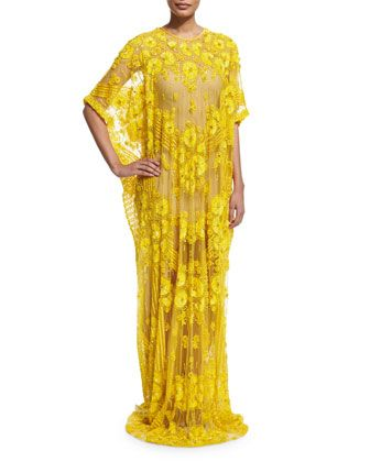 Half-Sleeve Floral-Embroidered Caftan, Yellow by Naeem Khan at Neiman Marcus.