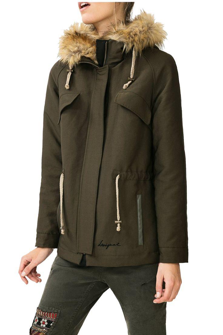 Desigual khaki zimní bunda Black 4