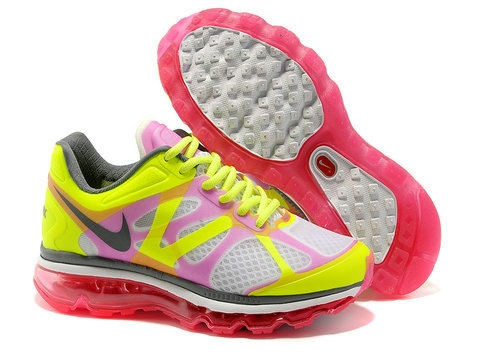 Newest Womens Nike Air Max 2012 White Hot Pink Hot Lime Dark Grey Shoes  Running Shoes Shop