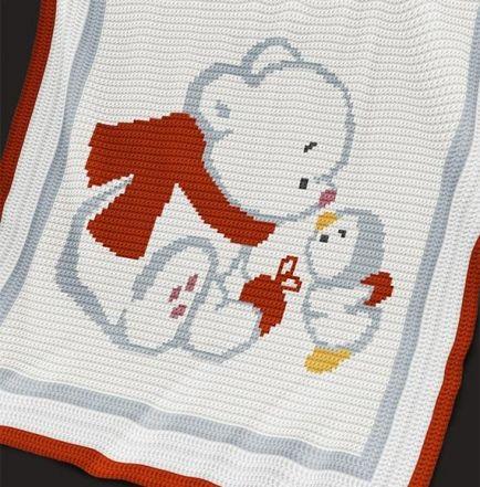 Crochet Pattern | Baby Blanket / Afghan - Bear and Penguin