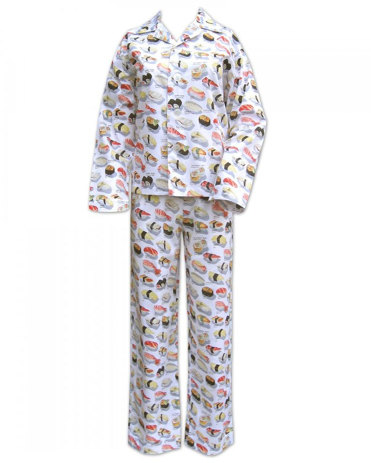 White Sushi Flannel Pajama from www.thecatspjs.com  Just too expensive for lil' old me.