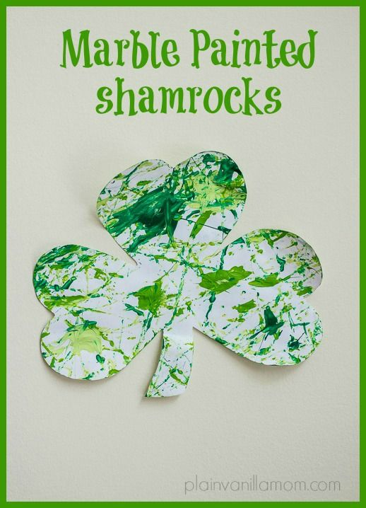 Marble painting shamrocks for St. Patrick's Day. A fun & low mess painting technique for all ages.  - repinned by @PediaStaff – Please Visit ht.ly/63sNtfor all our pediatric therapy pins