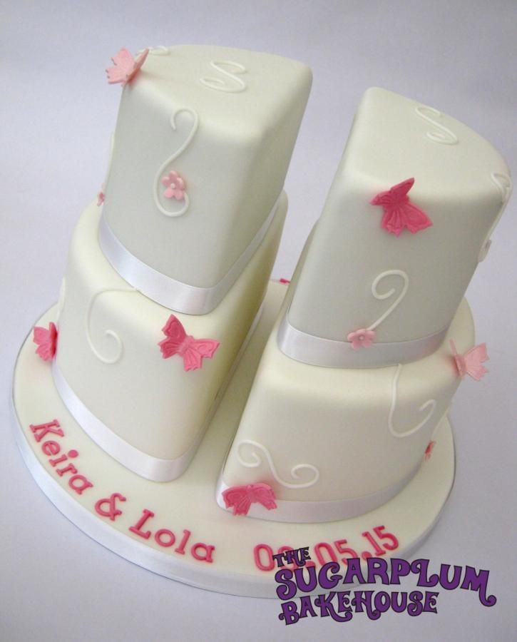 Split 2 Tier Christening Cake for Twins! - Cake by Sam Harrison