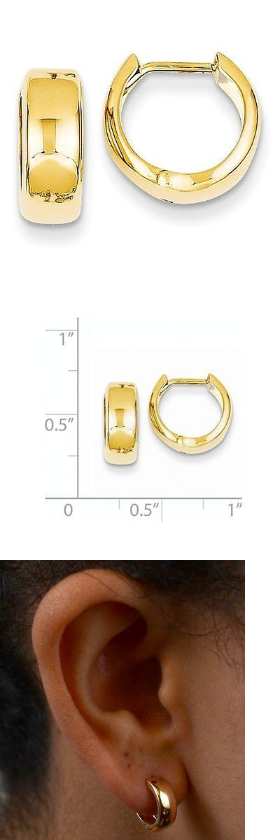 Precious Metal without Stones 164319: New 14K Yellow Gold Small Hinged Huggie Hoop Earrings 12Mm X 5Mm -> BUY IT NOW ONLY: $59.99 on eBay!