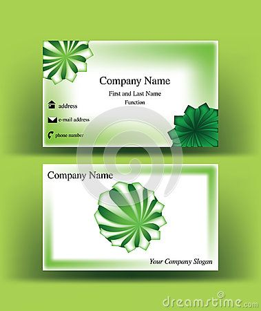 #Business #card with #green #sphere #symbol, with abstract #arrows starting from its center, on green background