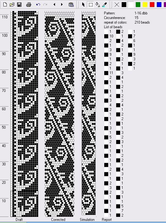 Bead crochet rope pattern - swirls - 15 around, 2 colors