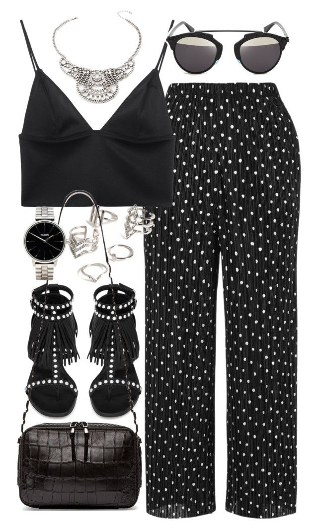 """""""Outfit with wide leg trousers"""" by ferned ❤ liked on Polyvore featuring Topshop, T By Alexander Wang, Forever 21, Yves Saint Laurent, Christian Dior, Opening Ceremony and Nixon"""