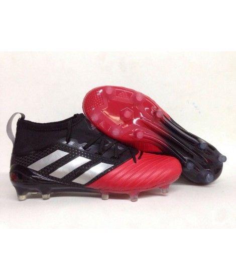 Adidas Ace 17.1 Primeknit Leather Firm Ground Menn Fotballsko Svart Rød Sølv