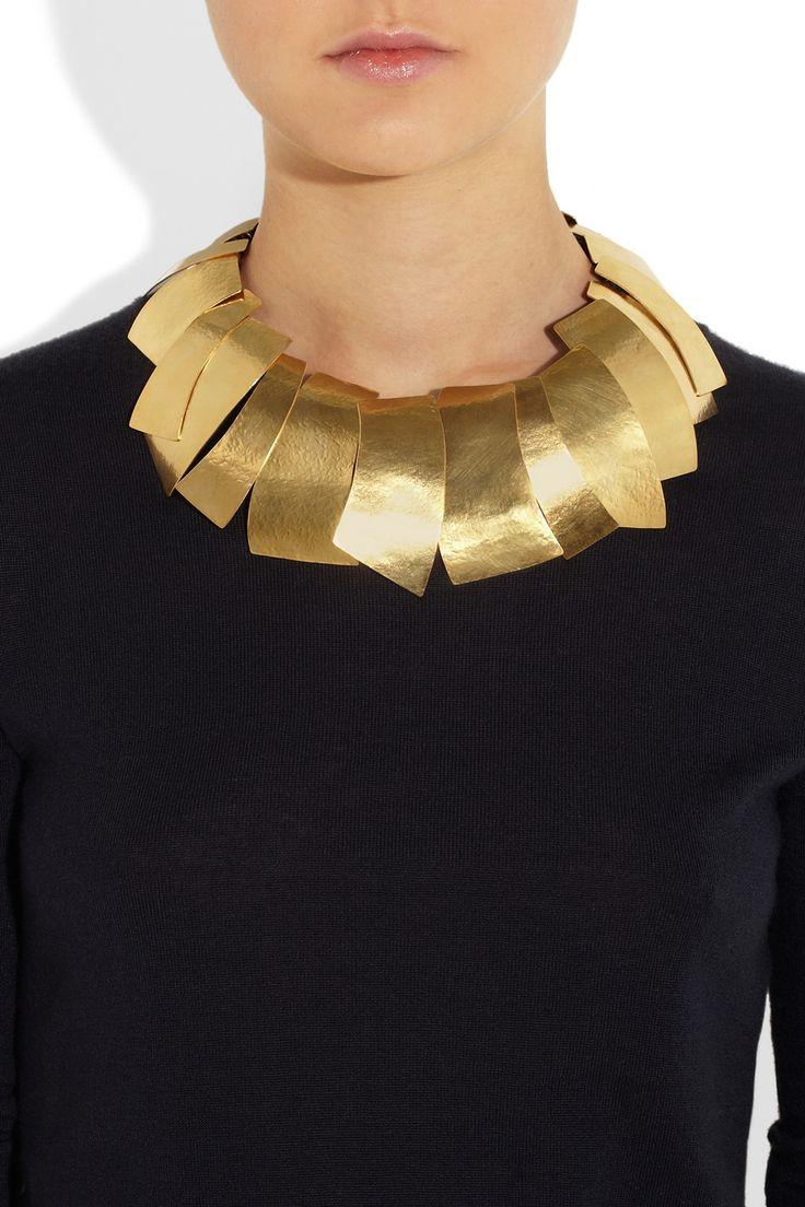Hervé Van Der Straeten | Hammered 24-karat gold-plated leaf necklace | NET-A-PORTER.COM | Luxury Interiors, luxury furniture, designer furniture, high end furniture, home design,  For more inspirations: http://www.bocadolobo.com/en/inspiration-and-ideas/