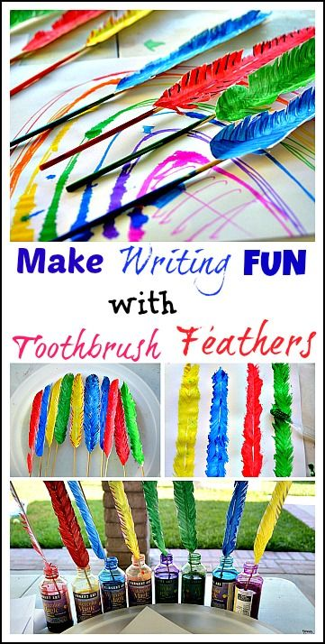 Make feathers with toothbrush painting project. Then make quill pens for a fun writing and creating prompt. #artactivities