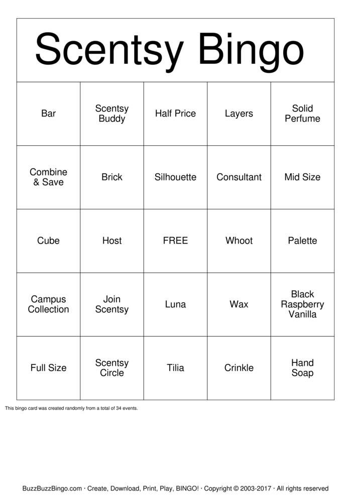 Scentsy Bingo Cards Printable