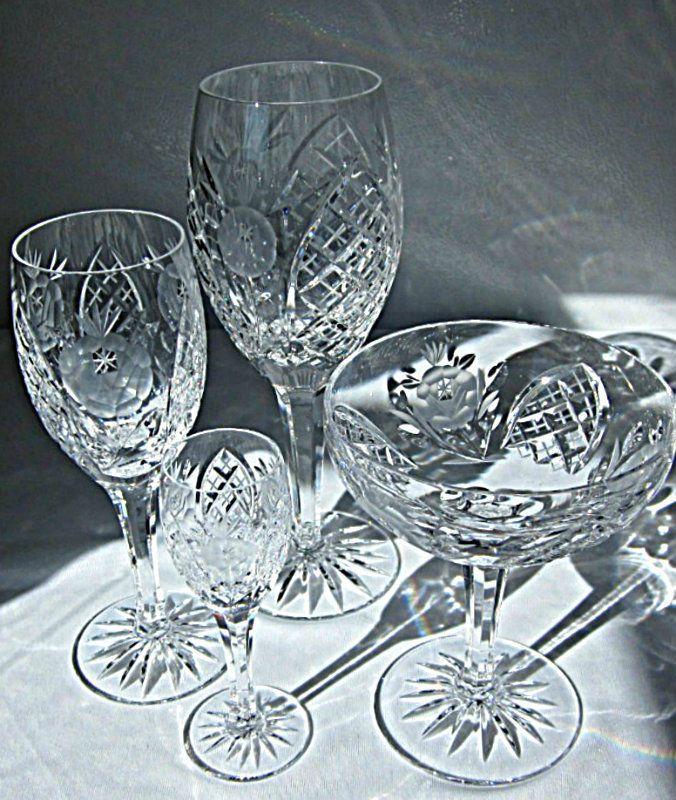 1 Set Of 4 American Cut Crystal Vega Roses Arches W