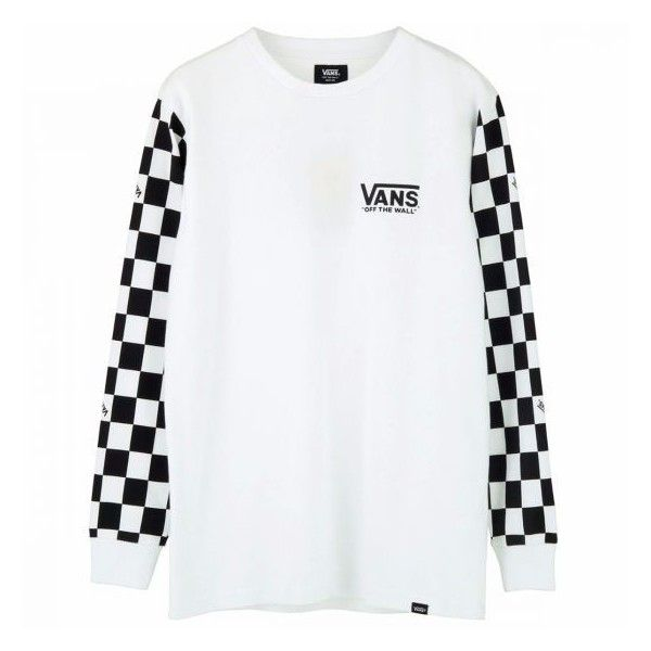 VANS SLEEVE CHECKER L/S T-SHIRTS WHITE ($60) ❤ liked on Polyvore ...
