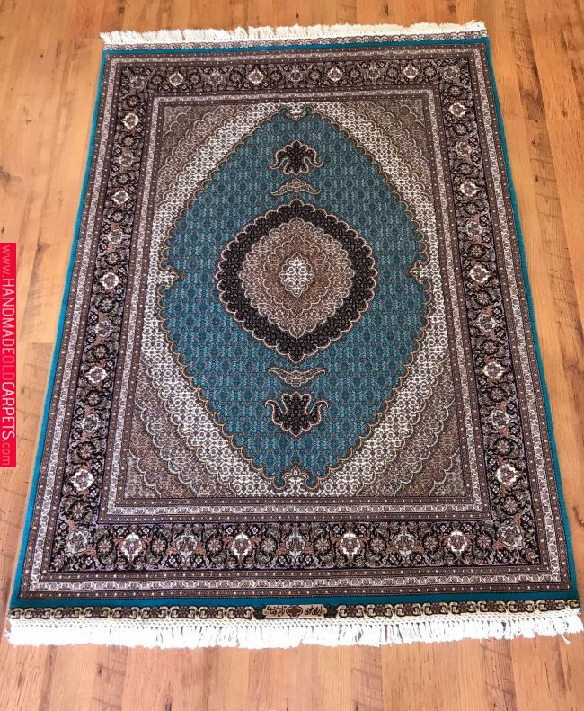 Wool And Silk Tabriz Mahi Persian Rug
