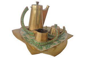 One Kings Lane - Southwestern Spirit - Mexican Brass & Mosaic Tea Set, 4 Pcs