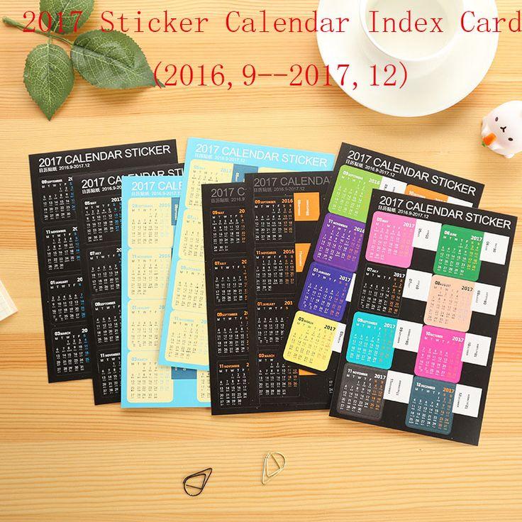 2 stücke 2017 kalender tagesordnung aufkleber Scrapbooking monatliche scheduler tagebuch karteikarte Aufkleber Dekorative DIY Planer Lesezeichen