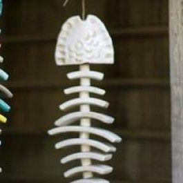 White Ceramic Fish Bone Windchime
