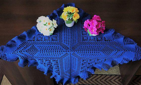 Квадратная салфетка крючком, ажурное вязание, синий цвет салфетки, украшения для дома, декор, вазы, Диагональ 92 см, Ширина 64 см, декор крючком.