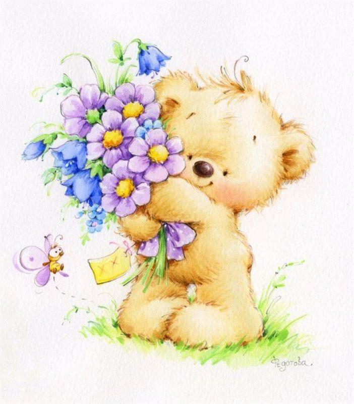 Надпись, с днем рождения открытки мишка с цветами