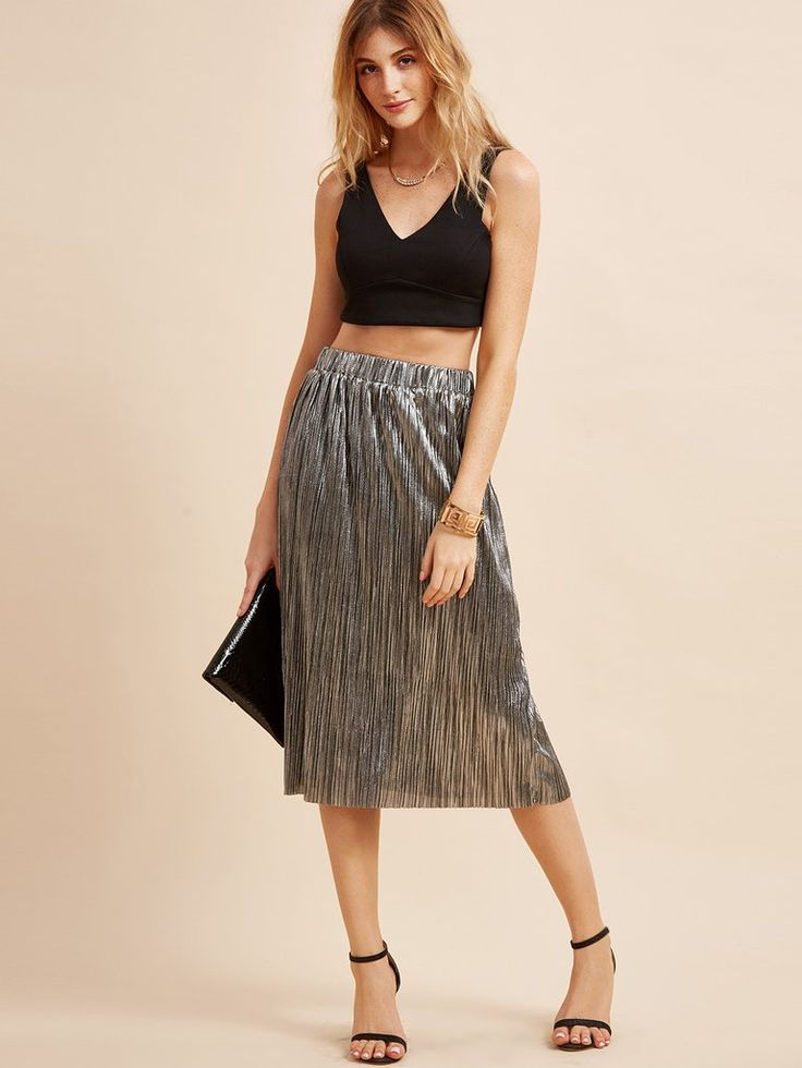 Makemechic Women's Casual Solid Party Pleated A-Line Midi Skirt Silver M
