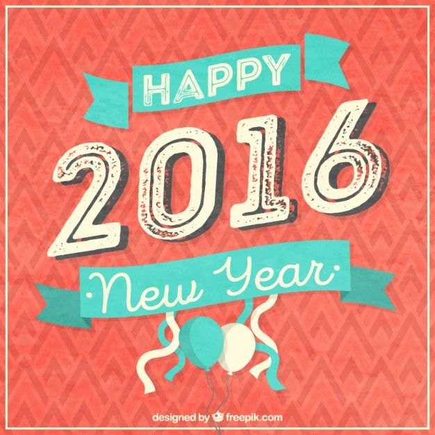 Happy 2016 card in vintage style I Free Vector: