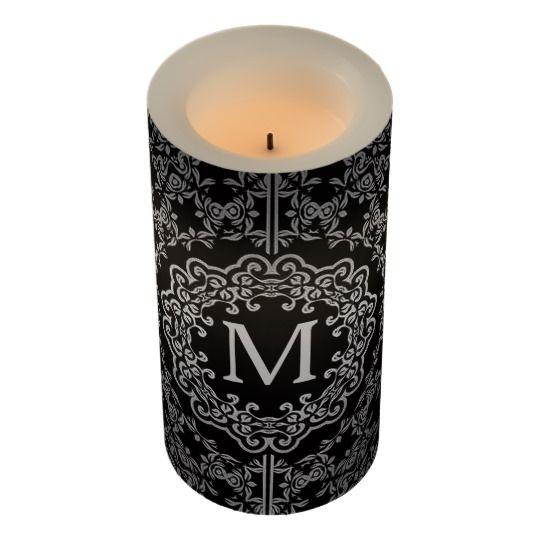 Monogram Black & Silver Filigree Motif LED Candle