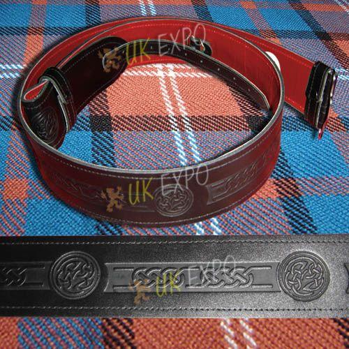 Kilt Belt Embossed Red Backing | Scottish Kilts Accessories
