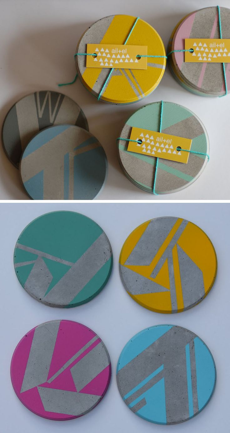 These circular concrete coasters feature geometric color blocking on the surface making them fresh and modern.