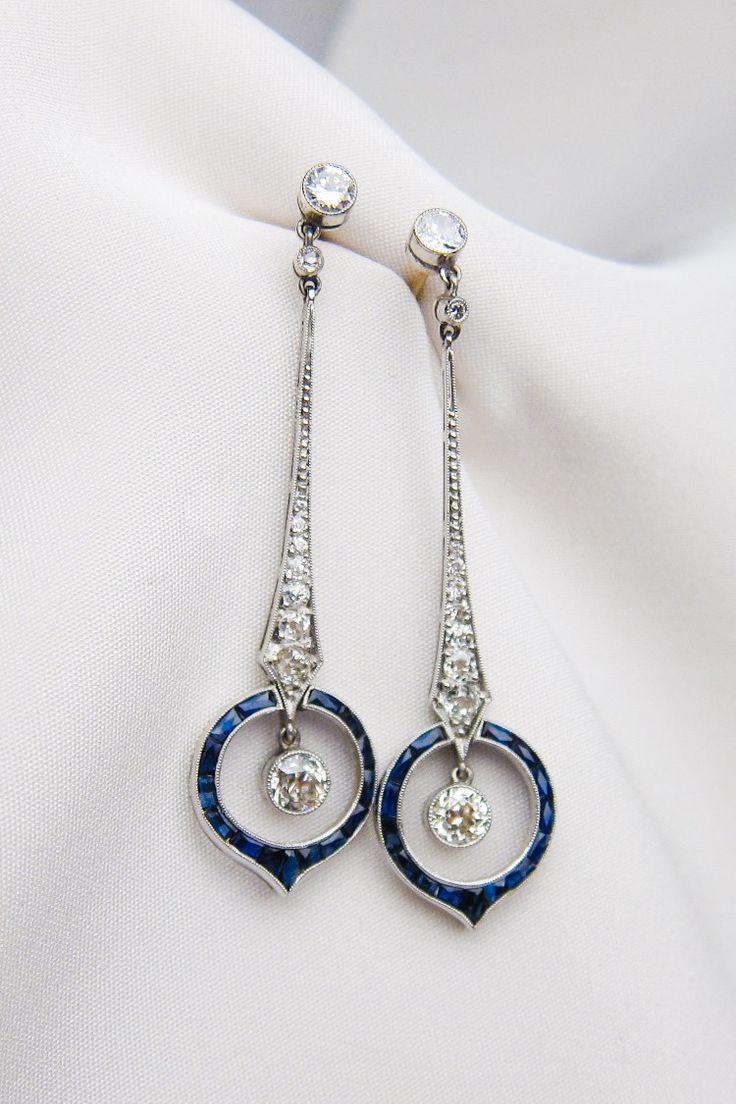 Brincos Art Deco em safira e diamante   – Art Deco BLING! Bulgari, Tiffany, Van Cleef and Arpels……and the OffBrands!