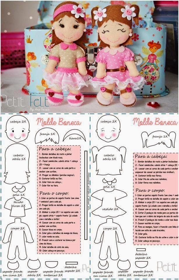 ARTESANATO COM QUIANE - Paps,Moldes,E.V.A,Feltro,Costuras,Fofuchas 3D: molde novo de bonequinhas de feltro