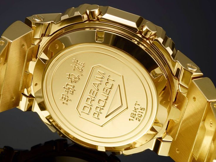 """The Solid 18 Karat Gold G-Shock. The first G-Shock """"concept"""" watch. Rather than being for sale, this solid gold DW5600 is a one-off conceptual watch that was created by G-Shock's founding father Mr Kikuo Ibe. Mr Ibe had long desired to create a solid gold watch, as a way to symbolise G-Shock's toughness using one of the toughest metals on the planet – gold (solid 18 karat pure gold, nonetheless!)  It cost around $100,000 just to create this one-off G-Shock. #DW5600 #GShock"""