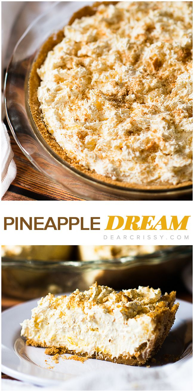 Pineapple Dream Pie - Fluffy pineapple cheesecake layers piled on sweet, crispy vanilla wafer crust? You do not want to miss this heavenly pie recipe!