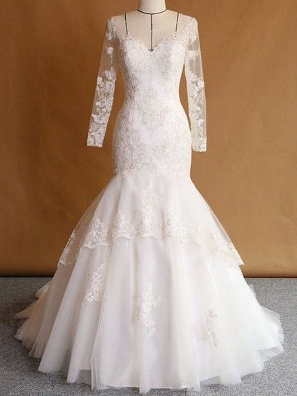 Trumpet/Mermaid Scoop Neck Tulle Appliques Lace Sweep Train Long Sleeve Custom Wedding Dresses #UKM00022751