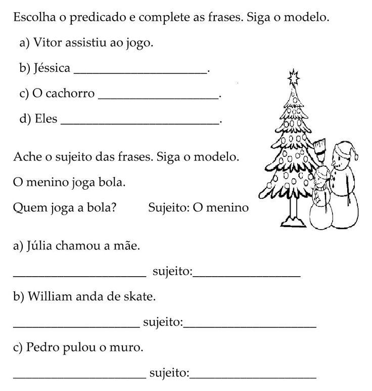 . Lingua Portuguesa - Gramática - Sujeito e Predicado Para receber atualizações do Atividades e Des...