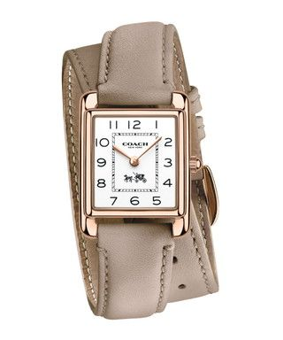 Page grey double leather strap watch Sale - Coach Sale