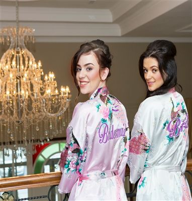 Set of 3 Personalised Floral Bridal Robes - Vintage White for Bride and Pearl Pink for Bridesmaids. Available online from WowWee.ie