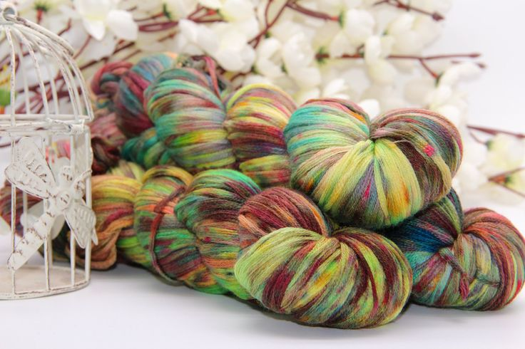 Hand dyeing,  Merino/Cashmere/silk, 284 yards/260 meters,   about love by PositiveCreative on Etsy