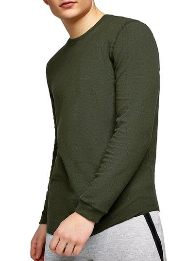 TOPMAN WAFFLE KNIT LONG SLEEVE T-SHIRT. #topman #cloth #