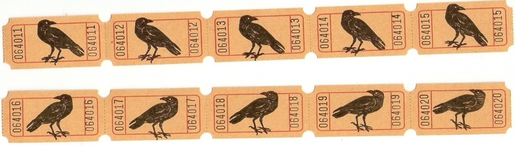 Crow (Raven) Tickets For Your Crafting Needs. $2.50, via Etsy.