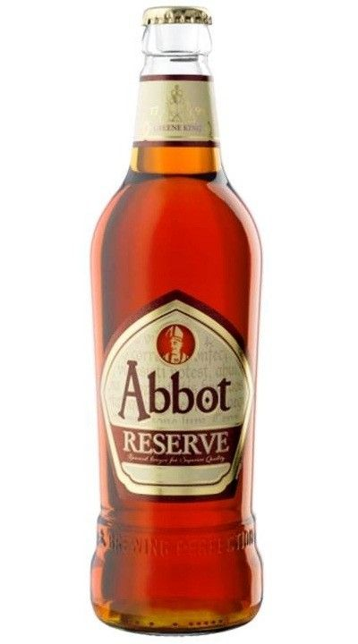 Cerveja Abbot Reserve, estilo Old Ale, produzida por Greene King, Inglaterra. 6.5% ABV de álcool.