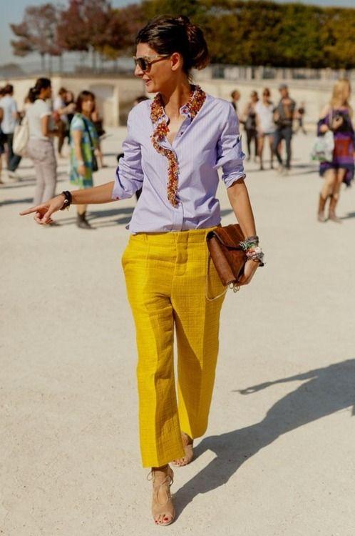 : Fashion, Giovannabattaglia, Yellow Pants, Street Style, Giovanna Battle, Outfit, Styles