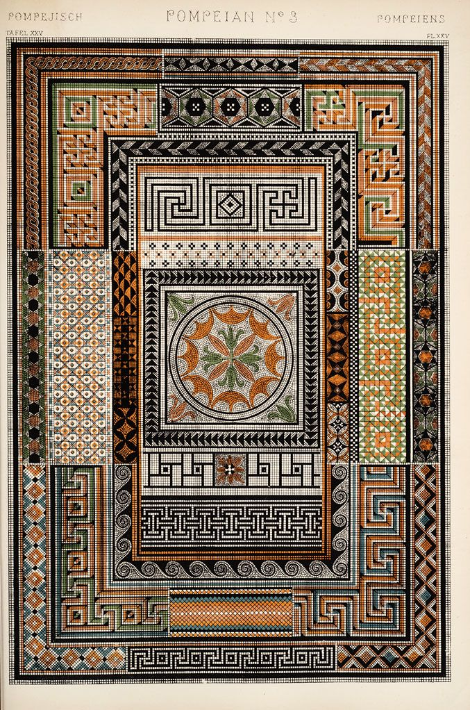 Pompeian ornament. From 'The Grammar of Ornament' (1910) by Owen Jones.