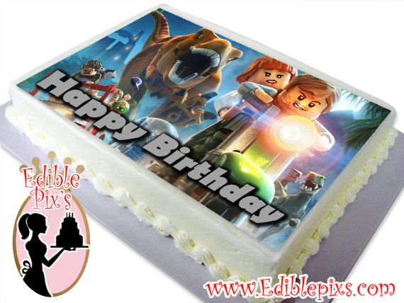 Lego Jurassic World Edible Image Cake Topper By Pixs Include Special Text At Checkout Optional Comes In 2 Different Sizes 75x10