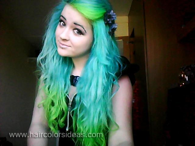 Lime green hair dye tasha 39 s turquoise and green hair for Lime and blue