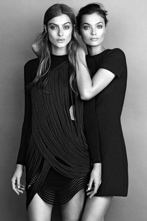 "senyahearts:  Lone Praesto & Moa Aberg in ""Midnight Mingle"" for Elle Sweden, December 2014  Photographed by: Jimmy Backius"