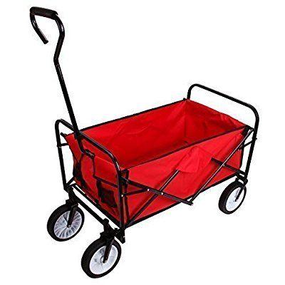 Ridgeyard pliante Chariot de transport à main Remorque pliable Voiture à bras de transport (Rouge)